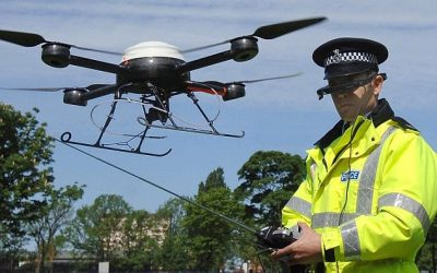 Police Drone Army Flying Over London
