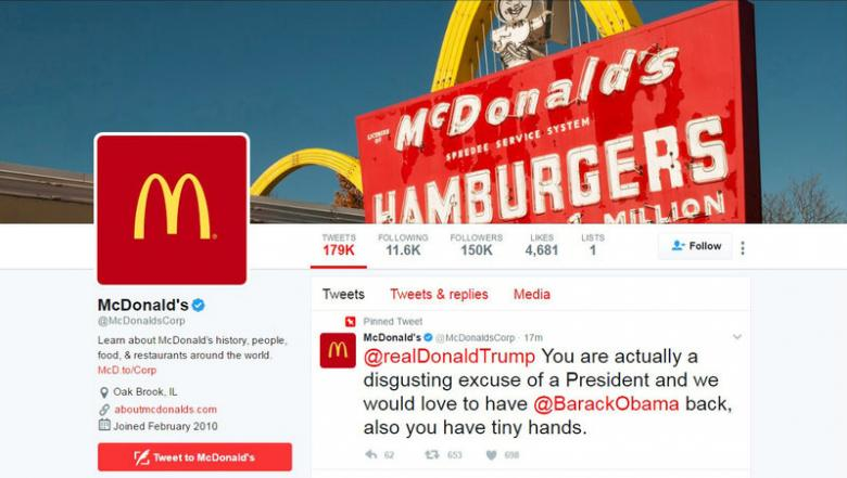 McDonald's deletes Trump tweet, says Twitter account compromised