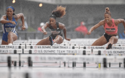 Harrison and Baker speed to yearly bests in U.S. champs