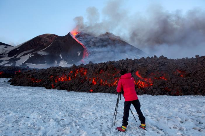 Volcanic explosion on Mount Etna injures 10 people