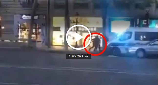 Dramatic footage of Paris shooting after police officer killed and two others injured by 'Kalashniknov-wielding gunman'