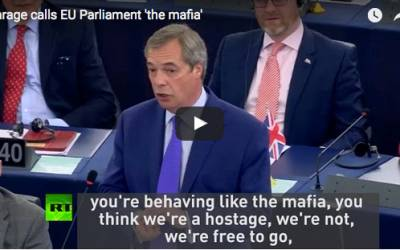 Farage calls EU Parliament 'the mafia'