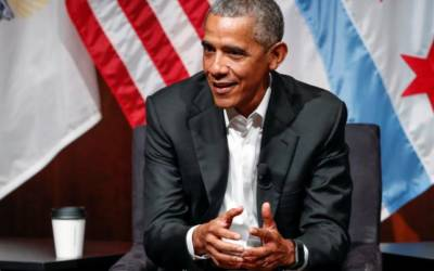 Obama makes no mention of Trump in first major post-presidential appearance