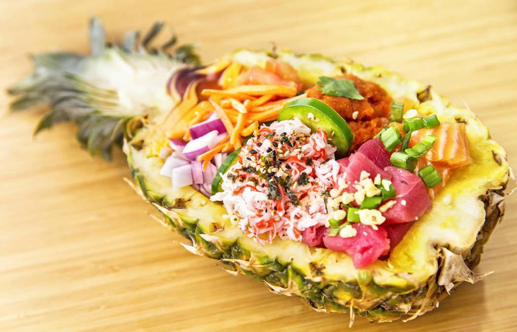Tail & Fin in Las Vegas serves custom poké bowls served in pineapples