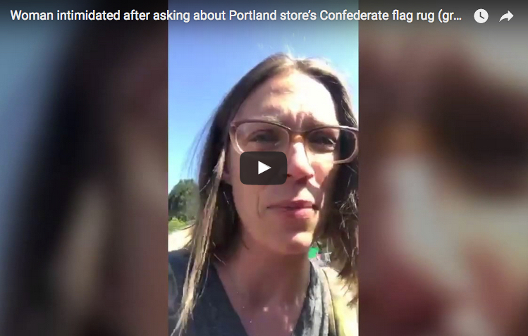 VIDEO: Woman with children yells, cries after seeing Confederate flag rug