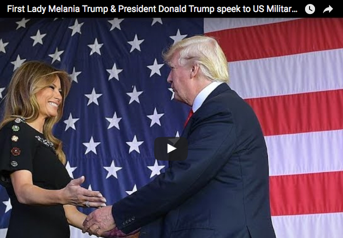 First Lady Melania Trump & President Donald Trump speek to US Military at Sigonella in Sicily, Italy