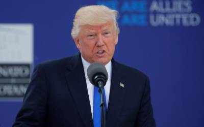 Trump, at NATO, vows unwavering fight against terrorism