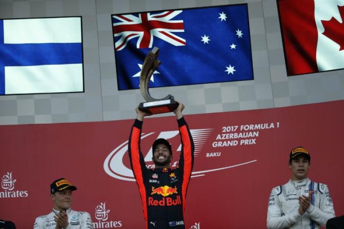 Ricciardo wins chaotic Azerbaijan Grand Prix, Vettel penalized