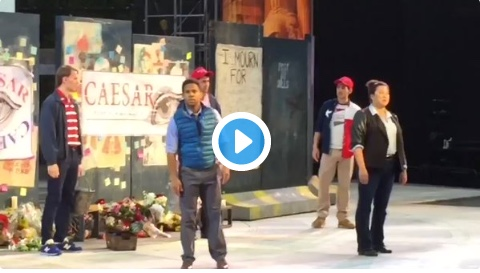 """Protesters INTERRUPT Trump Assassination Play – RUSH STAGE — Screaming """"Goebbels Would Be Proud!"""""""