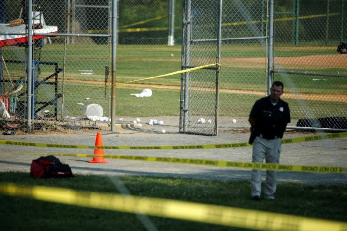 Baseball field shooting shakes American symbol of fair play