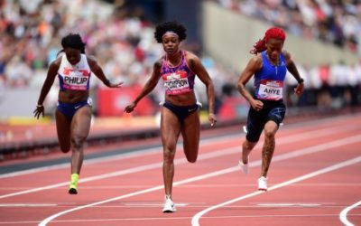 Thompson wins London 100m in trainers