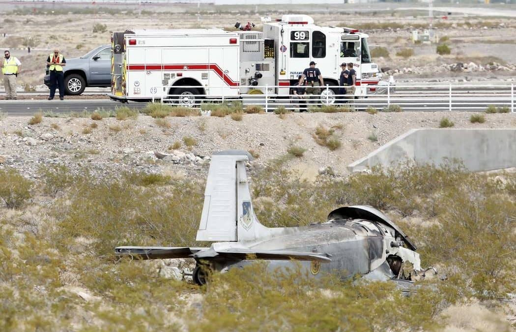 Vintage military aircraft crashes with 1 on board in Henderson