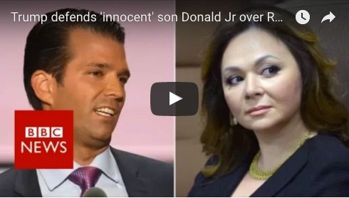 Trump defends 'innocent' son Donald Jr over Russia meeting – BBC News