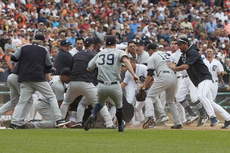 Baseball: Tigers beat Yankees in brawl-filled encounter