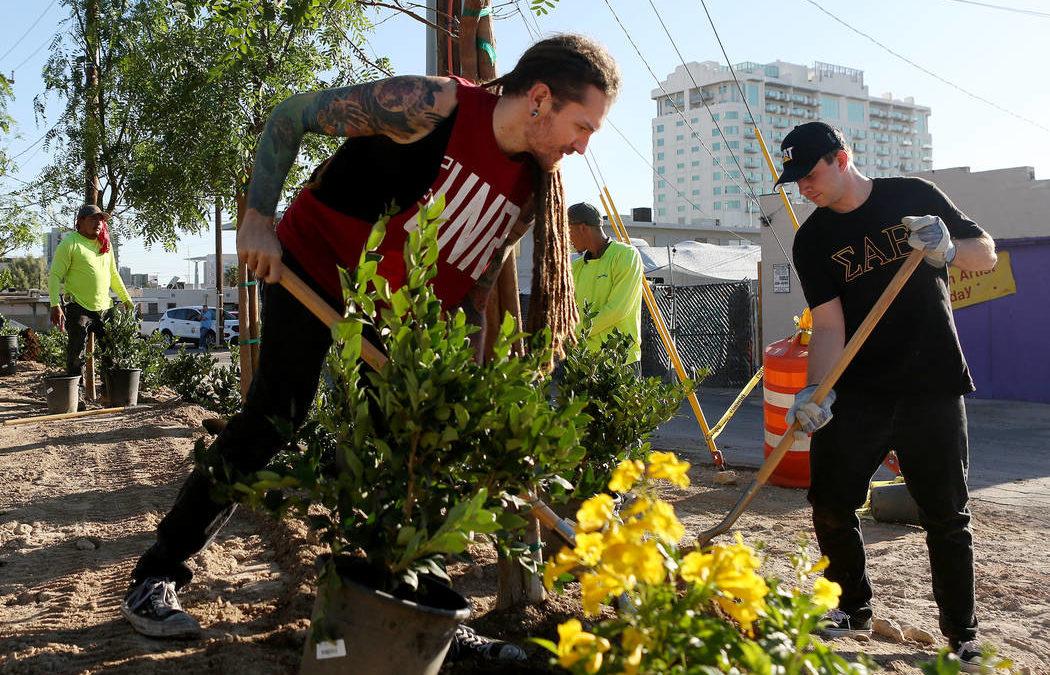 Las Vegas businesses, volunteers build memorial garden for shooting victims