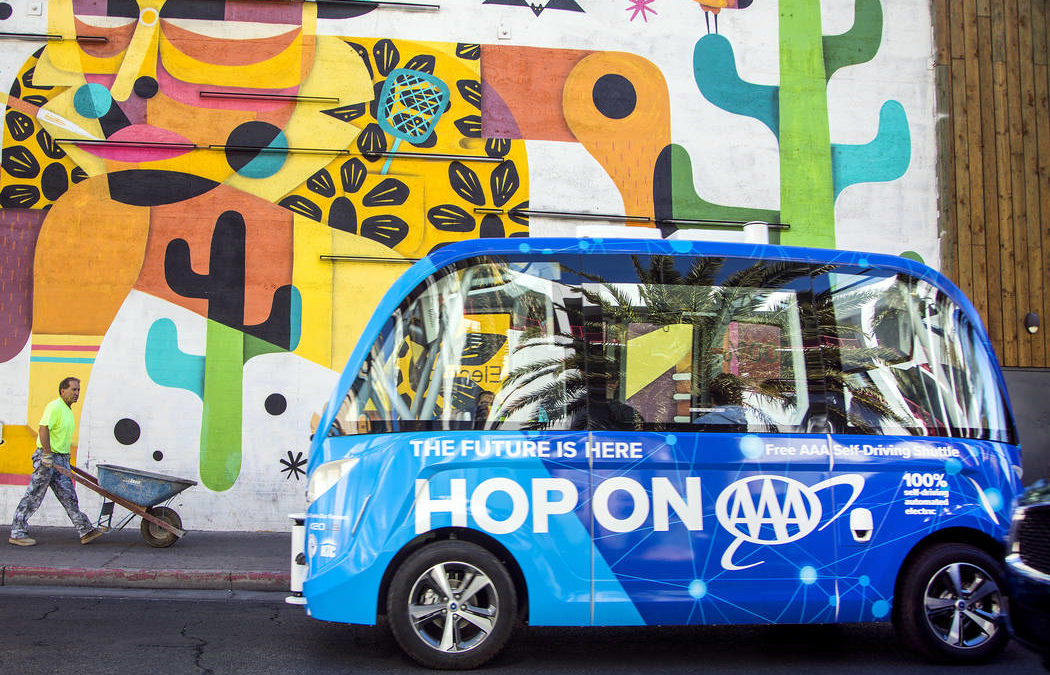 Driverless shuttle bringing a glimpse of the future to downtown Las Vegas