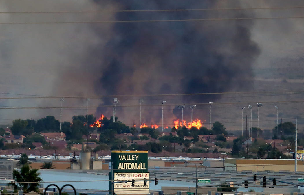 3-5 acre fire burning at Clark County Wetlands Park
