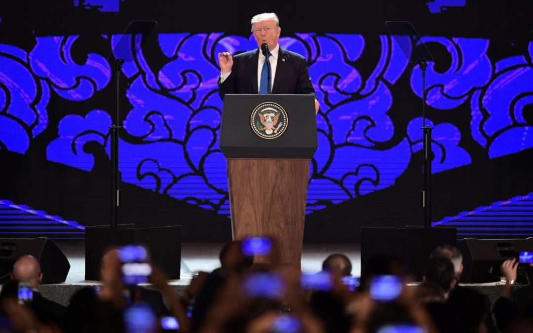 Trump brings tough trade message in vision for Asia