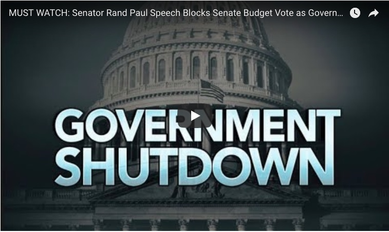 Senator Rand Paul Speech Blocks Senate Budget Vote as Government Shutdown Looms