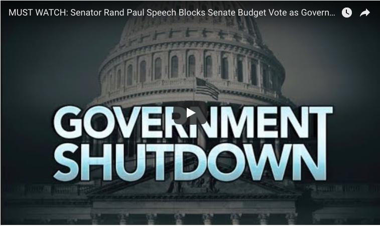 Senator Rand Paul Speech Blocks Senate Budget Vote As Government Shutdown Looms