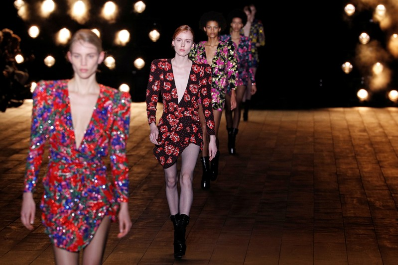 Short shorts lead the way at Saint Laurent's Eiffel Tower display