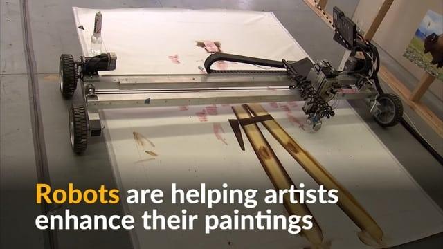 Robots help artist bring fine bison hair to pricey paintings