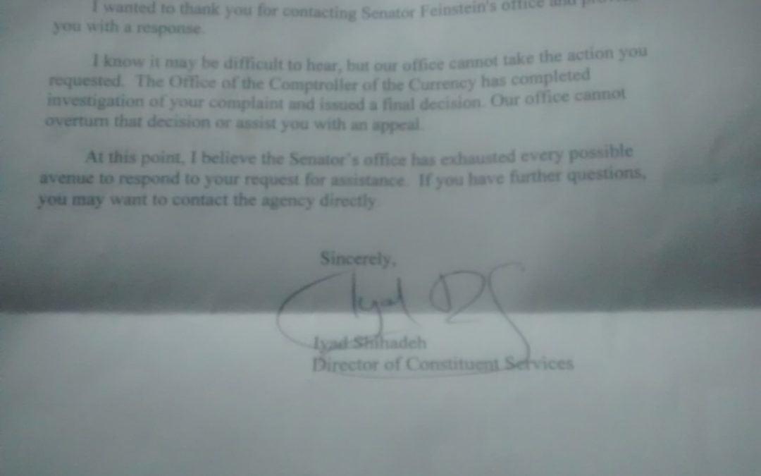 Unprofessional work by office of senator Dianne feinstein.