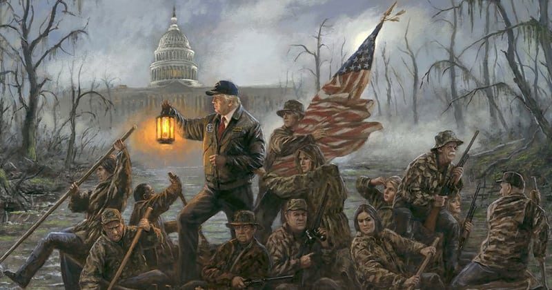 BREATHTAKING PAINTING: PRESIDENT TRUMP & CO. 'CROSSING THE SWAMP'