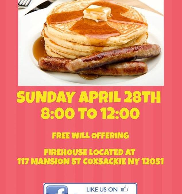 PANCAKE BREAKFAST, DH HAMILTON STEAMER Co , 8 – 12 PM ,Sunday 4/28   IN COXSACKIE, NY