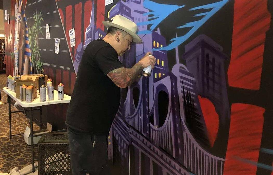 Graffiti artist leaving his mark on Luxor on Las Vegas Strip