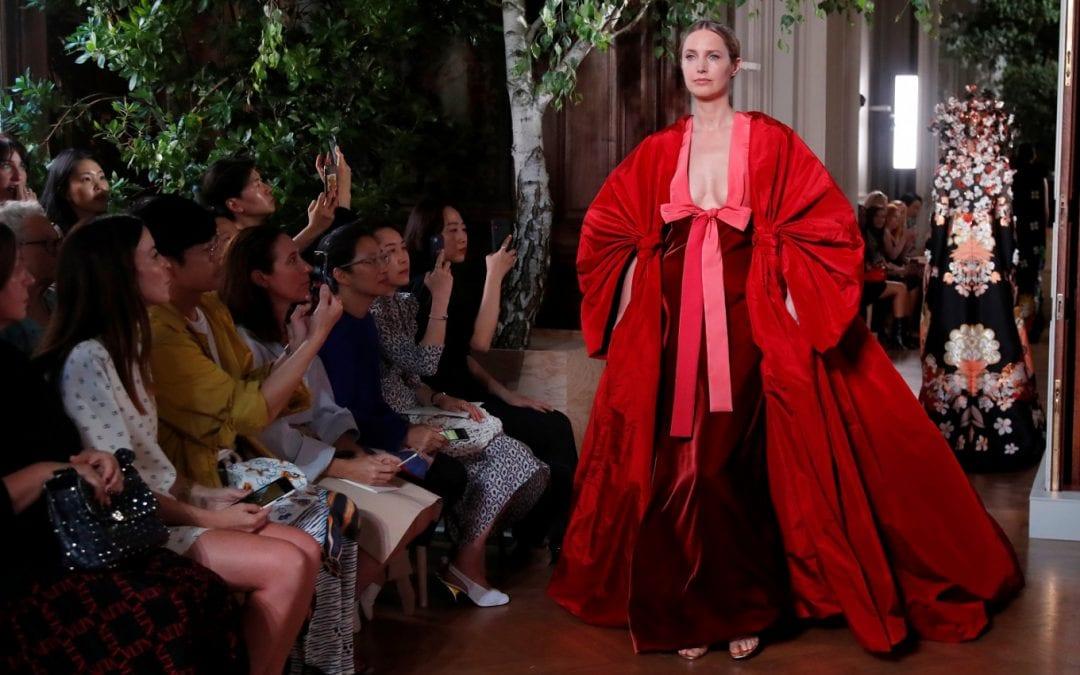 Kimonos and colossal bows fill Valentino's colorful catwalk