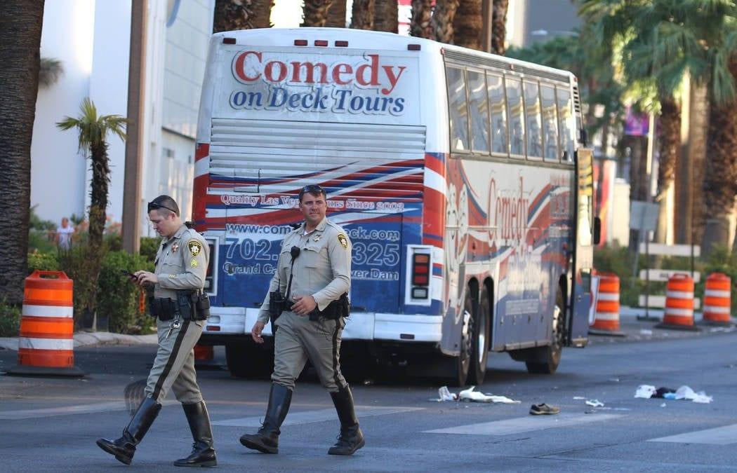 2 pedestrians injured in bus crash on Las Vegas Strip