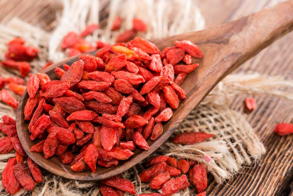 Antioxidant-rich goji berries are superfruit snacks that offer a variety of health benefits