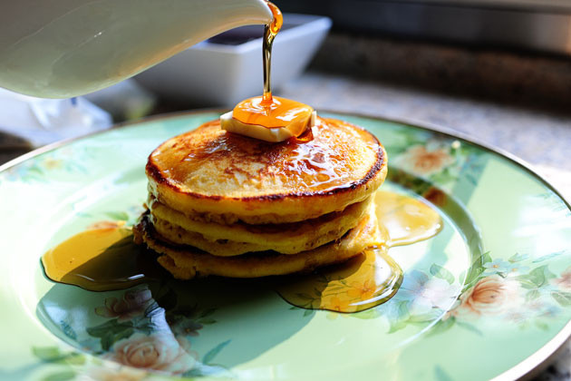 Have a taste of the frontier with cornmeal pancakes