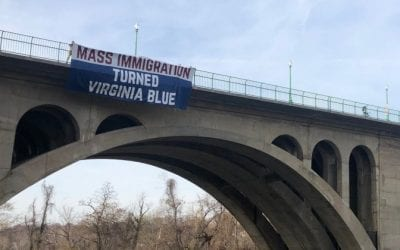 'MASS IMMIGRATION TURNED VIRGINIA BLUE' BANNER HUNG OVER BRIDGE IN ARLINGTON