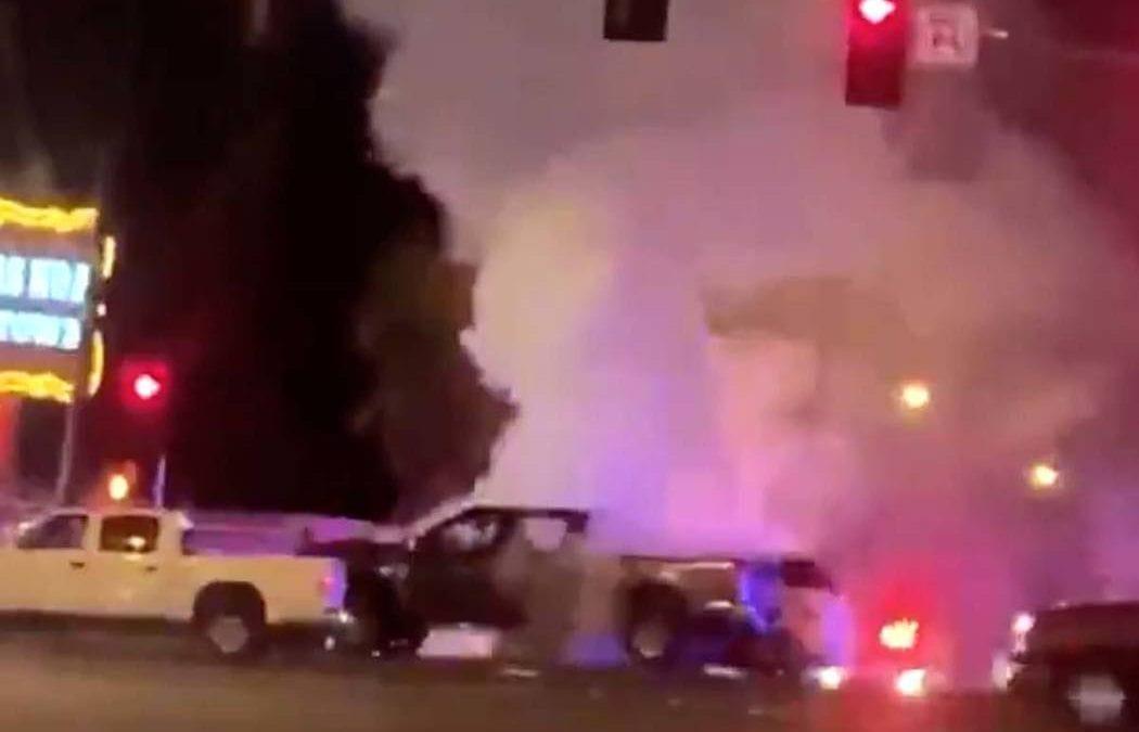 2 injured, arrested in fiery crash in southeast Las Vegas