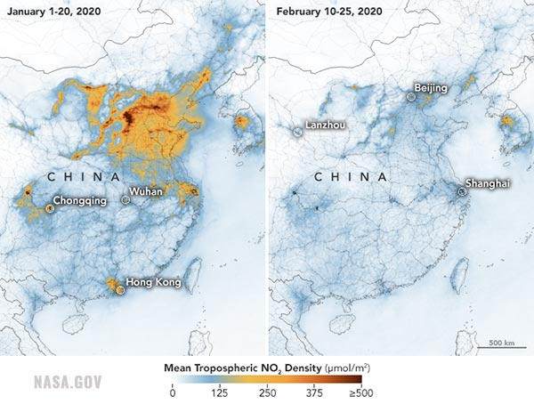 NASA images reveal massive DROP in pollution in China following coronavirus outbreak