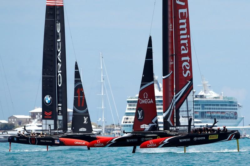 New Zealand America's Cup yacht returns from Europe, without getting wet