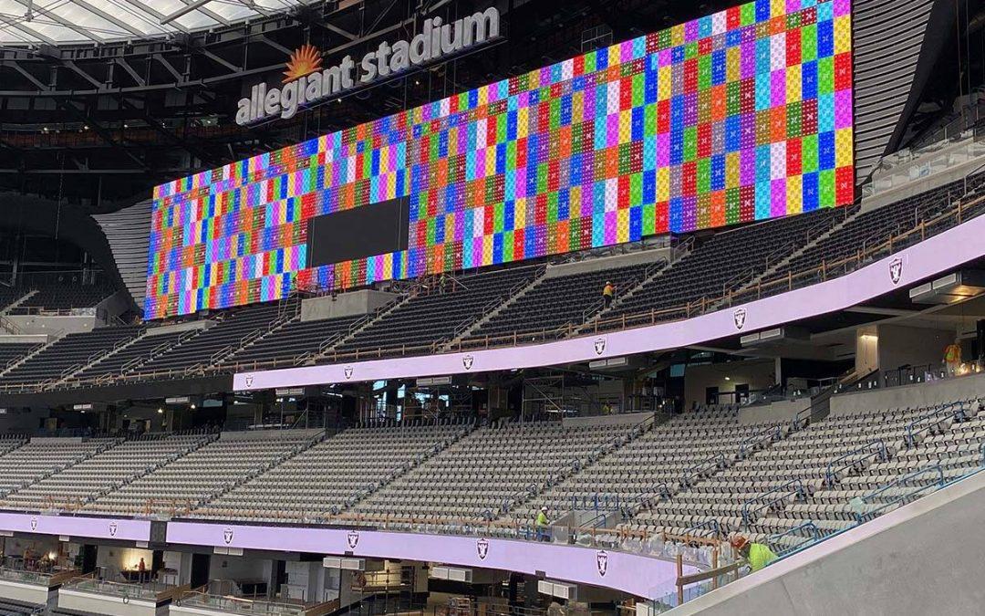 Allegiant Stadium video boards light up in Las Vegas