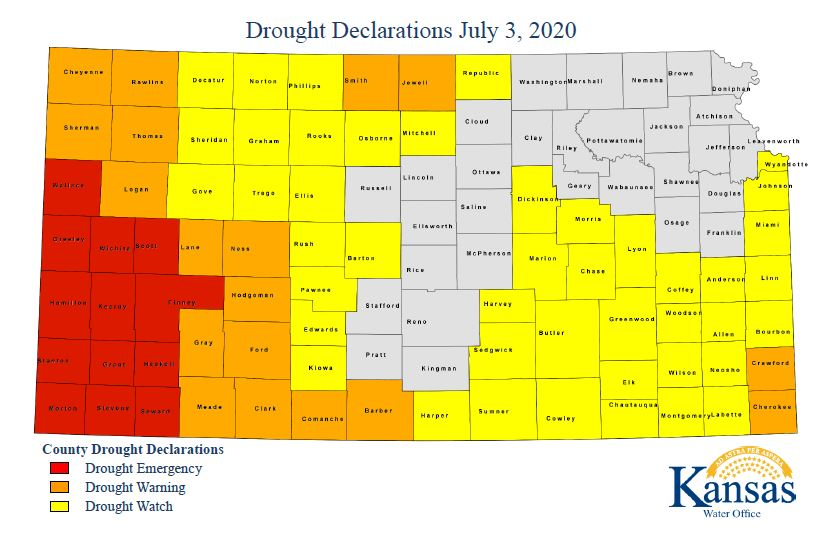 Governor Declares Drought Emergency, Warnings and Watches for Kansas Counties