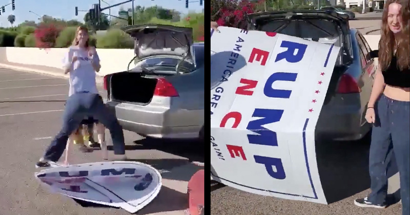 WOMEN BUSTED TRYING TO GET HUGE TRUMP SIGN INTO SMALL CAR TRUNK
