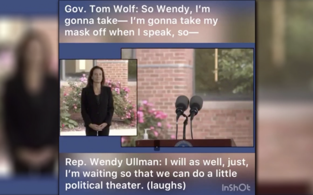 "HOT MIC: DEMOCRAT REP ADMITS TO GOV. TOM WOLF MASKS ""POLITICAL THEATER"" WORN FOR ""ON-CAMERA"" APPEARANCE"