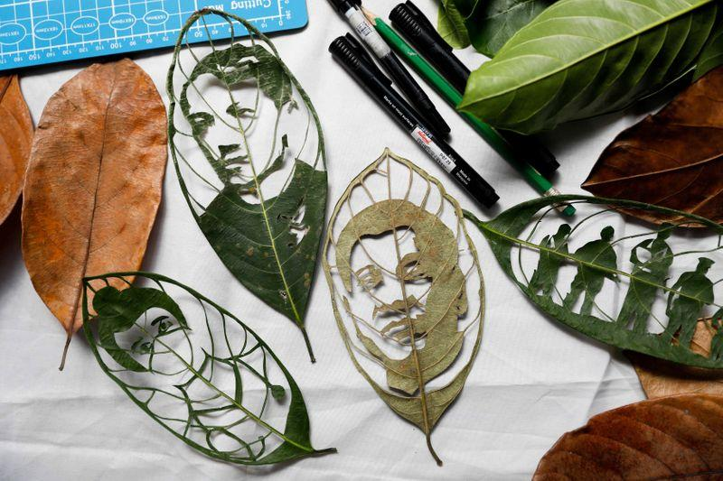 Filipina cashes in on 'leaf art' venture