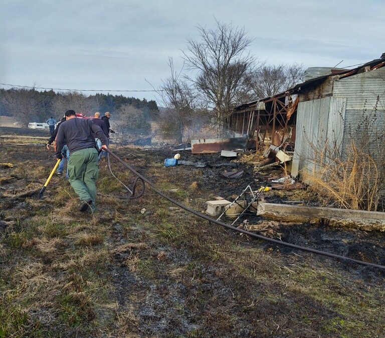 MONDAY FIRE CALL NORTH OF OZARK DAMAGES BARN