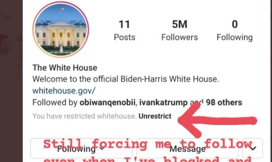 Instagram Forcing Users to Follow Biden White House Account