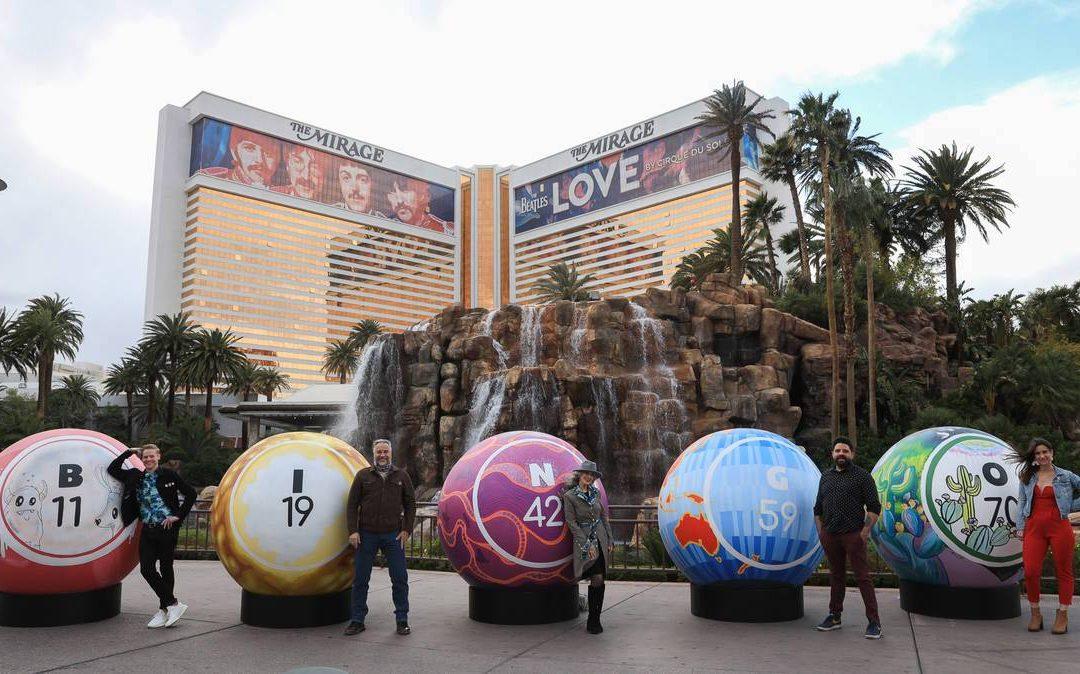 5 giant artist-designed bingo balls installed on Las Vegas Strip