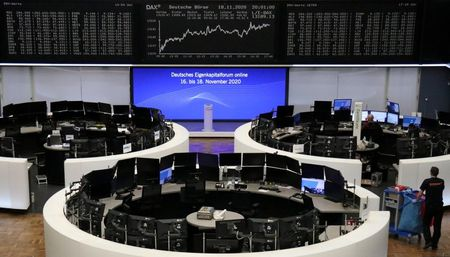European shares end at near nine-month high on potential easing of virus curbs