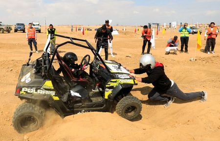 Five-year-old Egyptian rally driver's son takes the wheel