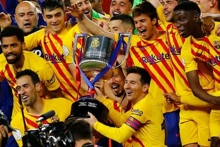 Soccer: Messi fires Barca to Cup final win over Athletic Bilbao