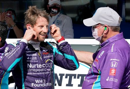 Motor racing-Grosjean seals first IndyCar pole position